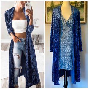 Jackets & Blazers - SALE! Beautiful Blue Velvet Duster Jacket